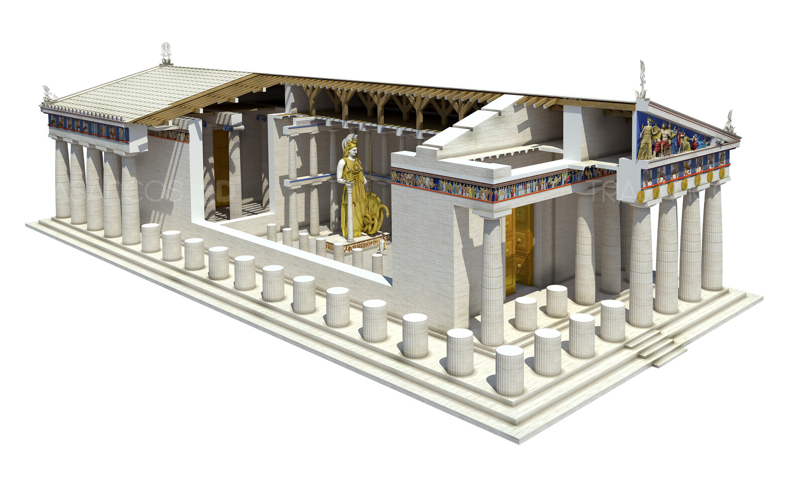 Cut away showing the interior of the Parthenon with the gold and ivory statue of Athena.