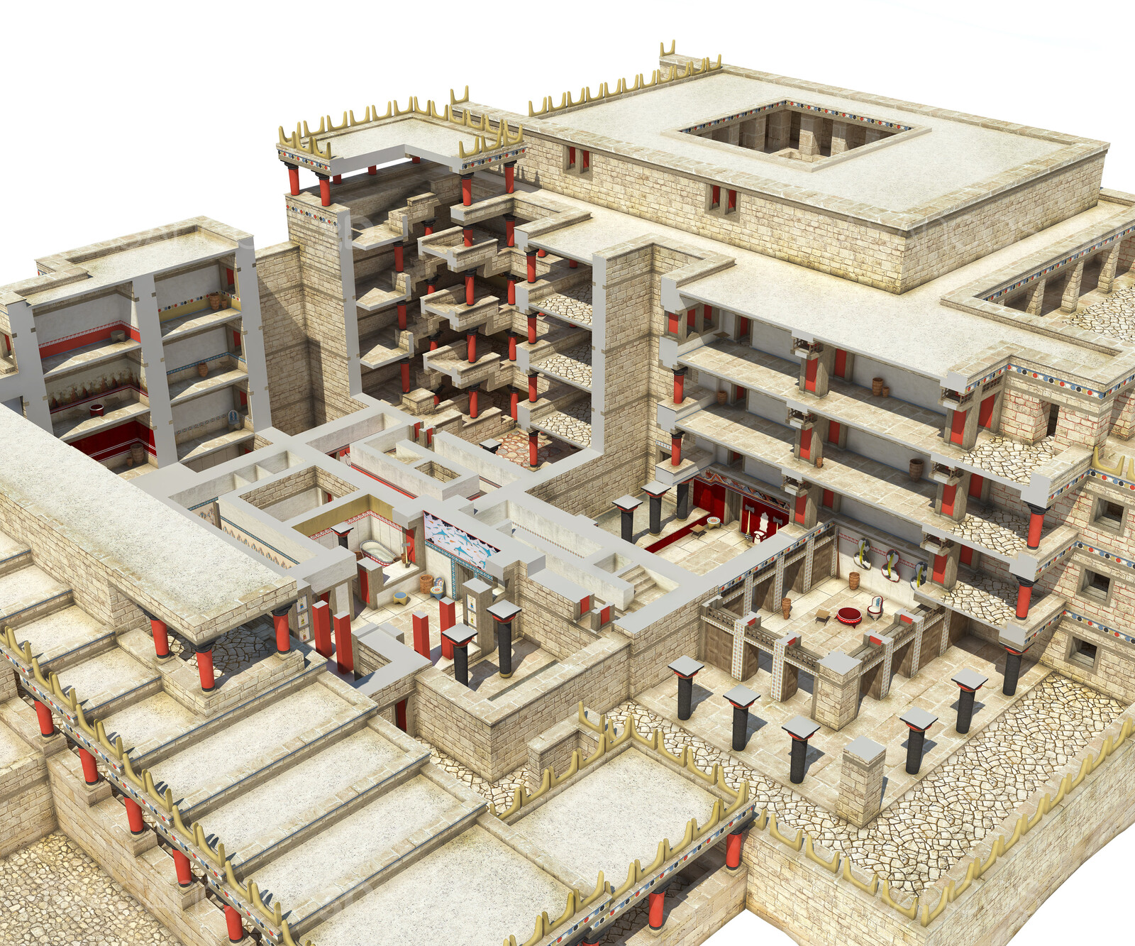 Cut away showing the interior of the royal residential area and the Big Staircase in the Palace of Cnossos. Modeled in collaboration with: - Alejandro Soriano
