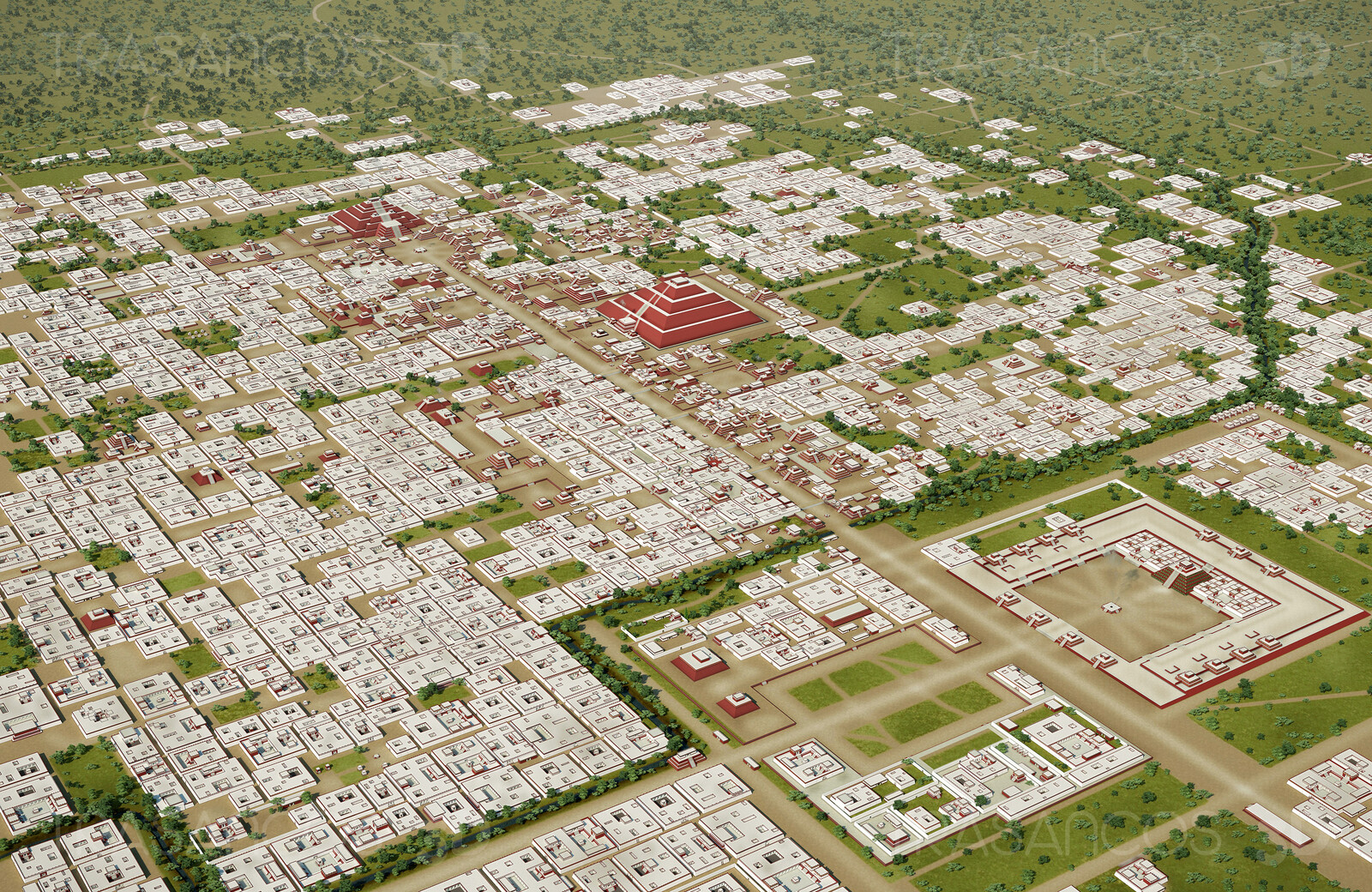 General view of the ancient city of Tehotihuacan in actual Mexico. Modeled in collaboration with: - Andrés Armesto - Alejandro Soriano - Carlos Paz - Diego Blanco