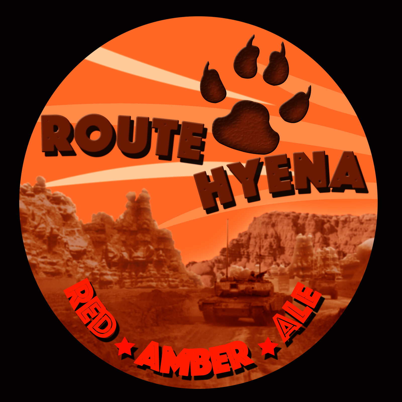 """Brew label based off Highway 1 """"Route Hyena"""" Afghanistan"""
