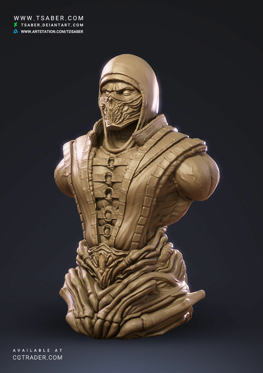 Artstation Mortal Kombat Scorpion Bust Taregh Saber