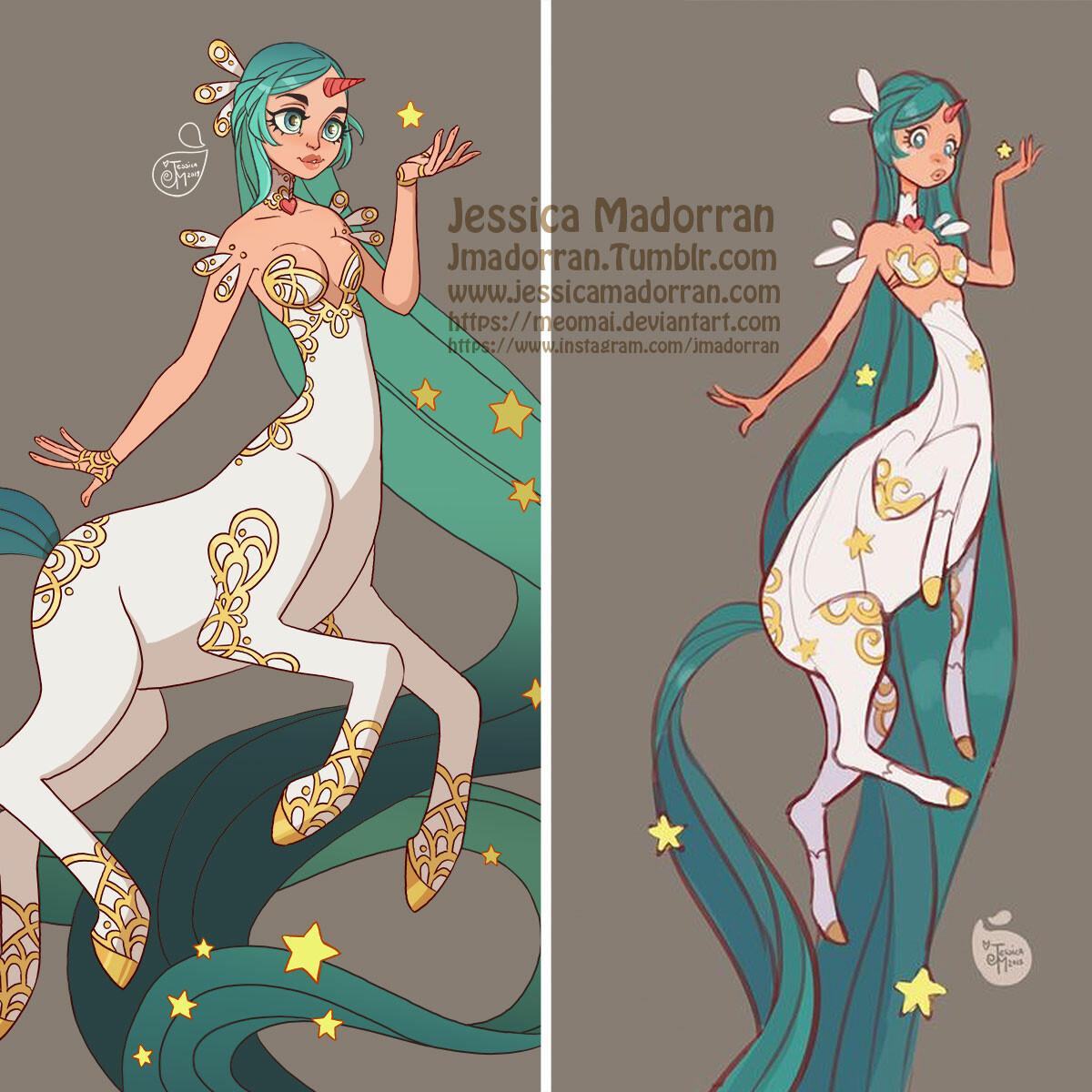 Jessica madorran character design redesign blue hair star centaur 2019 square comparison version artstation 02