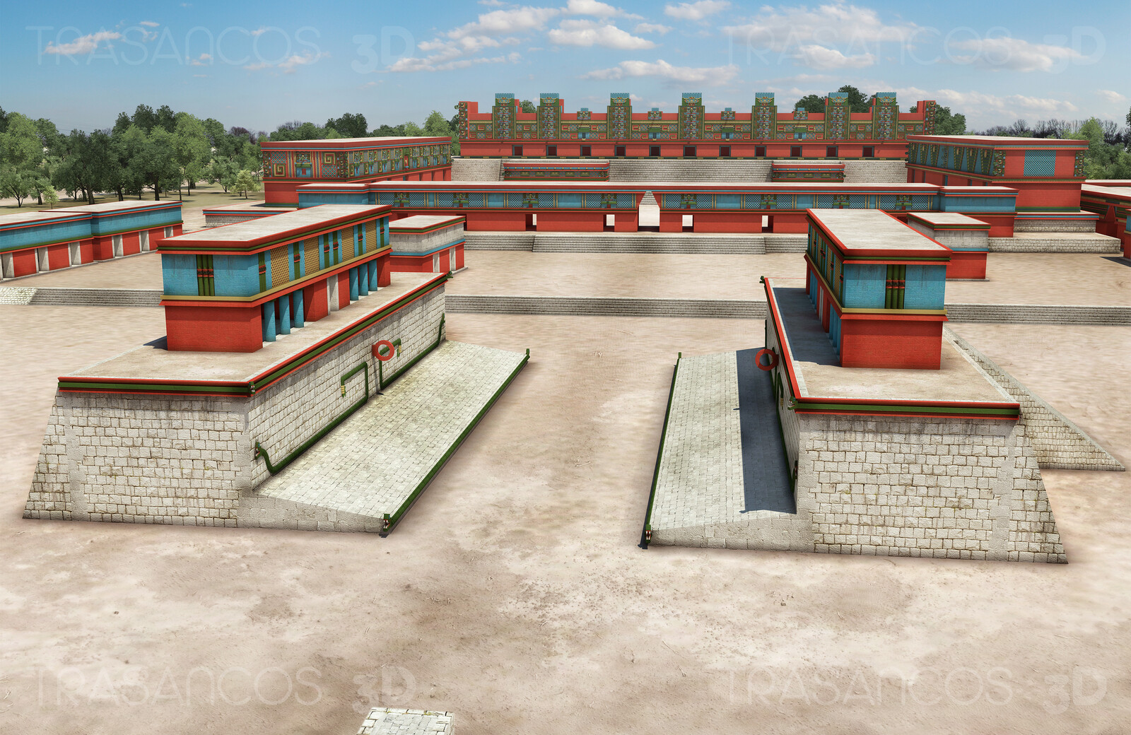 View of the ball court of Uxmal with the Nunnery Quadrangle at the Background. Modeled in collaboration with: - Alejandro Soriano - Diego Blanco