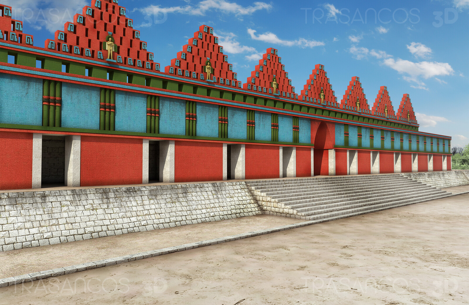 Reconstruction of the House of Pigeons in Uxmal.