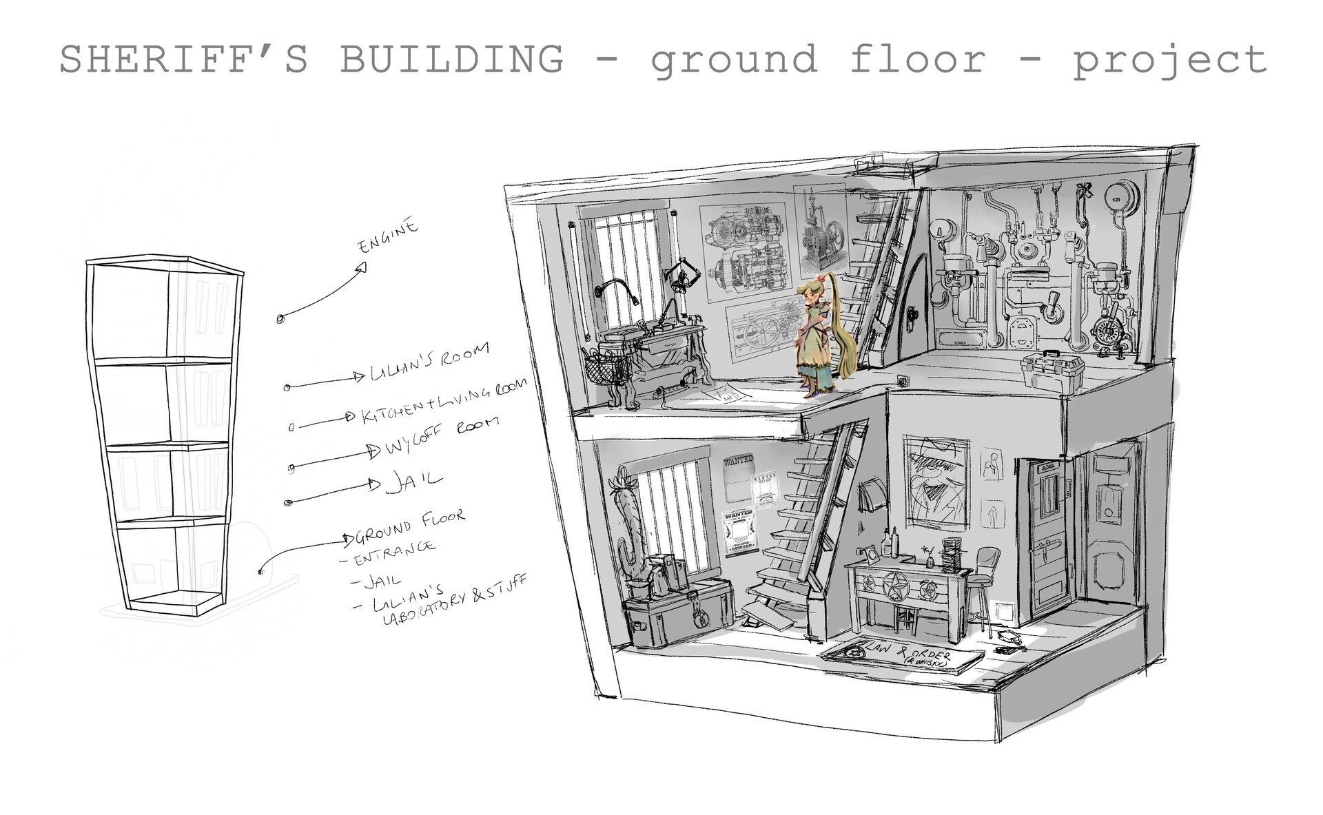 Plan of the floors and sketch of the Ground Floor