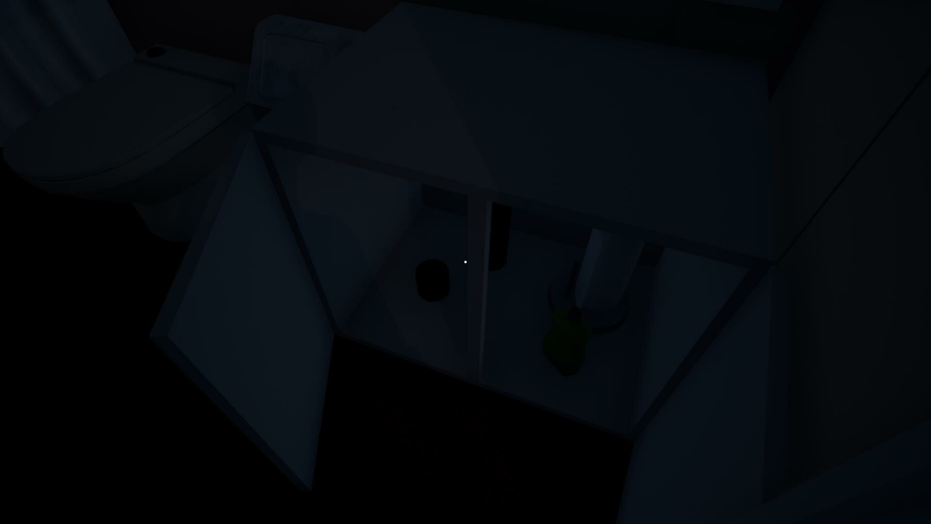A bathroom contains more clues and encourages the player to open cabinets and explore for pickups