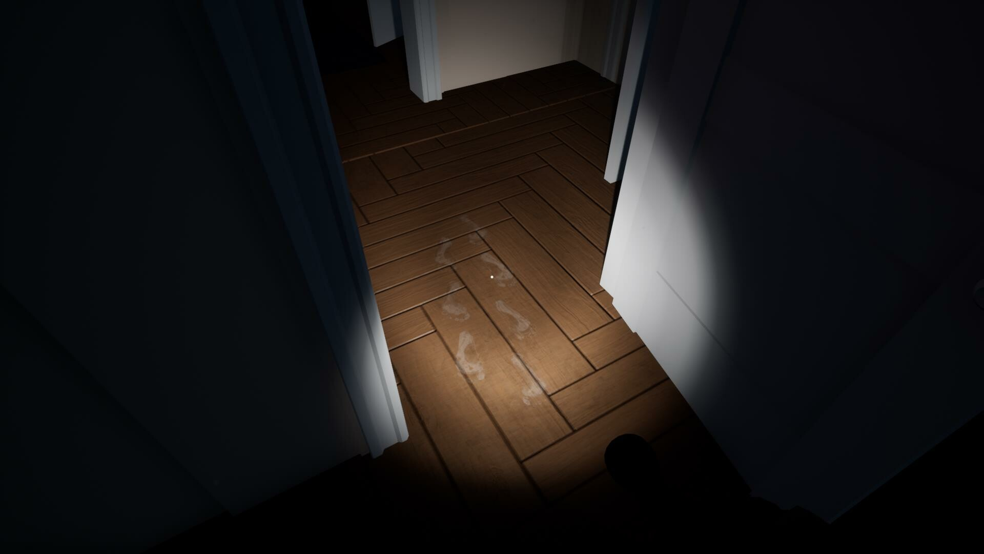 The entrance to the Child's bedroom marked by footprints