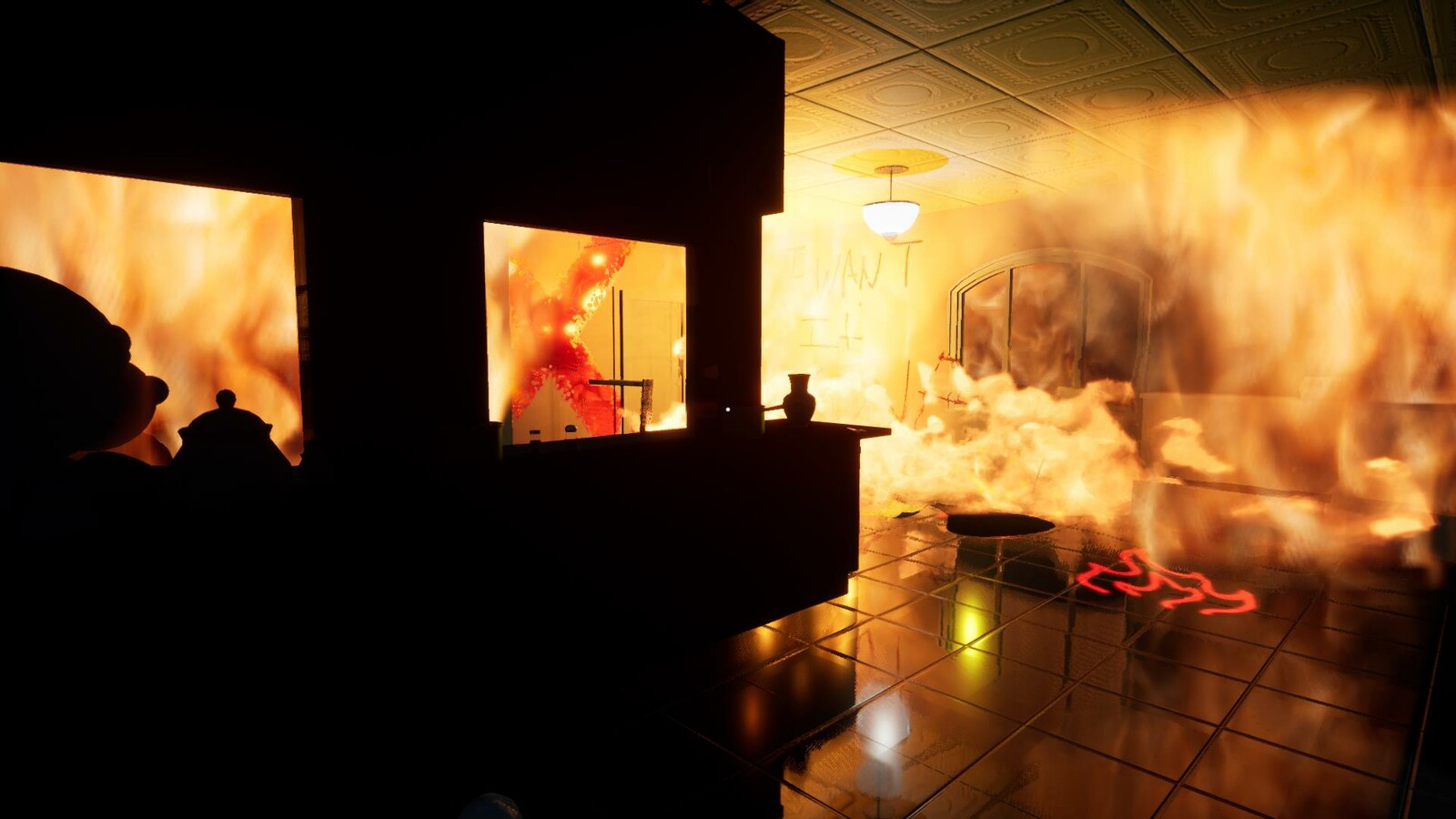 the player backs up and the parts of the room ignite one by one