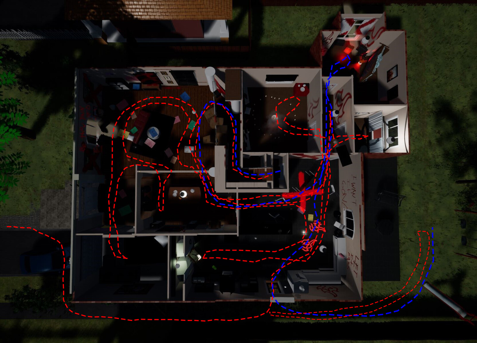 Movement utilized the hub like spaces repeatedly for different sections of the exploration quest. The red line is the key gathering before the entering the attic, the blue line is after the turning point after entering the attic.