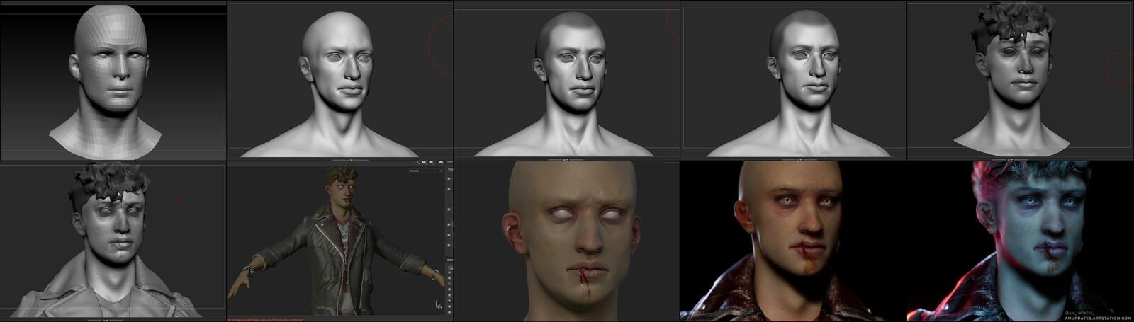 Sculpting, texturing, and lookdev progression. Excuse the wonky cranium in the second image ;)