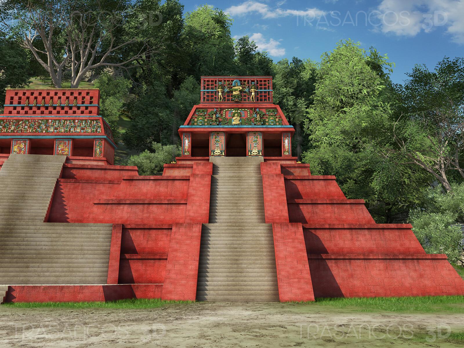 View of 'Templo de la Calavera' (Temple of the Skull) in Palenque. Modeled in collaboration with: - Alejandro Soriano