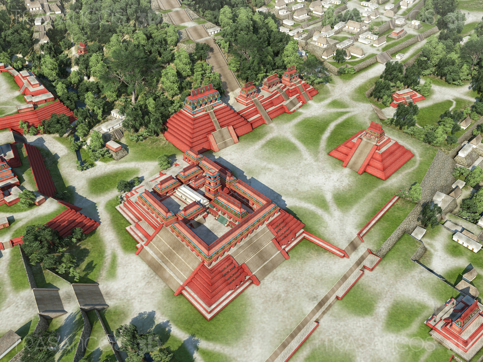 View over the center of the city of Palenque, with the Palace in the middle. Modeled in collaboration with: - Andrés Armesto - Alejandro Soriano - Carlos Paz - Diego Blanco
