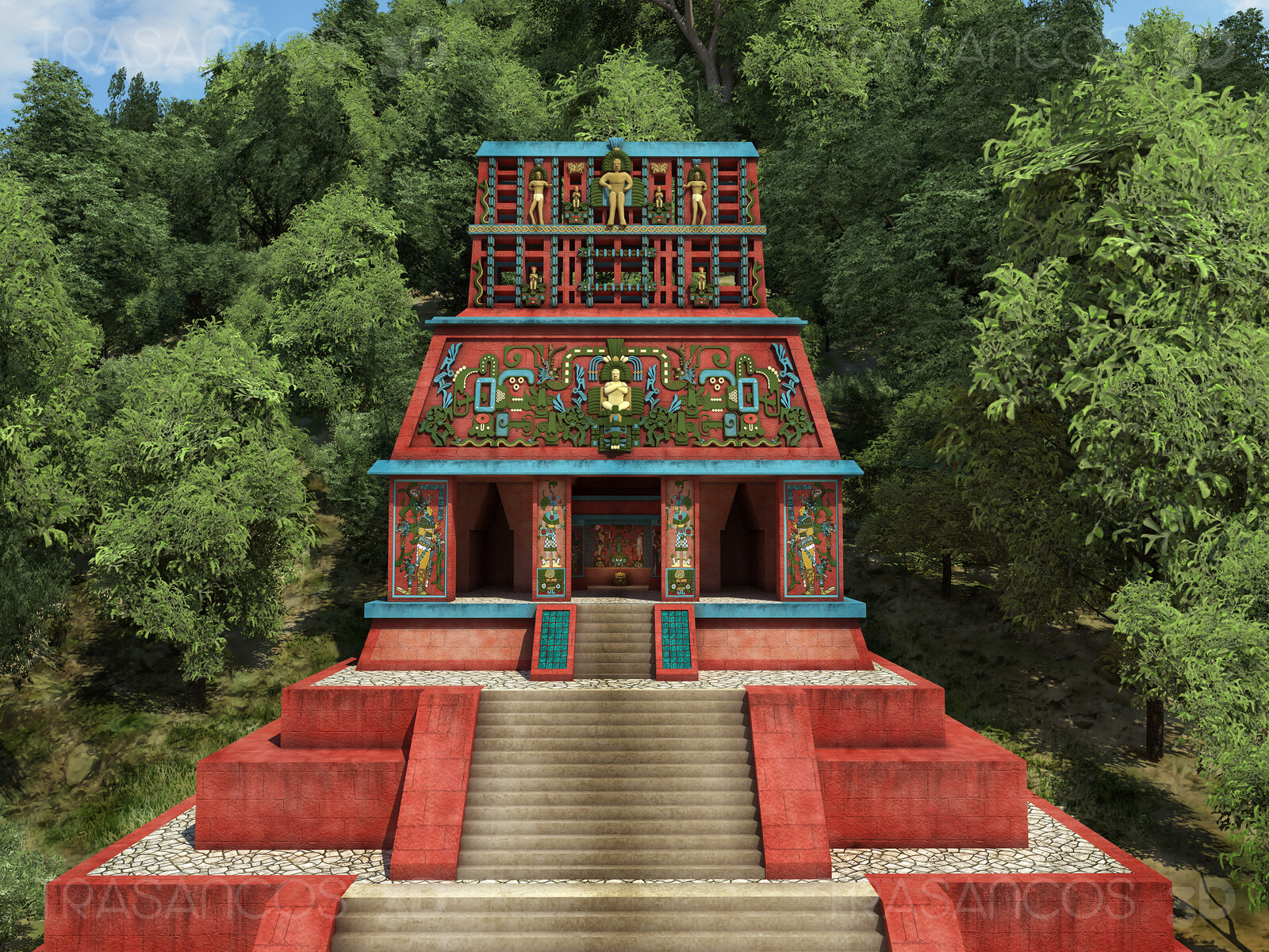 Reconstruction fo the Temple of the 'Cruz Foliada' (Foliated Cross) Modeled in collaboration with: - Andrés Armesto