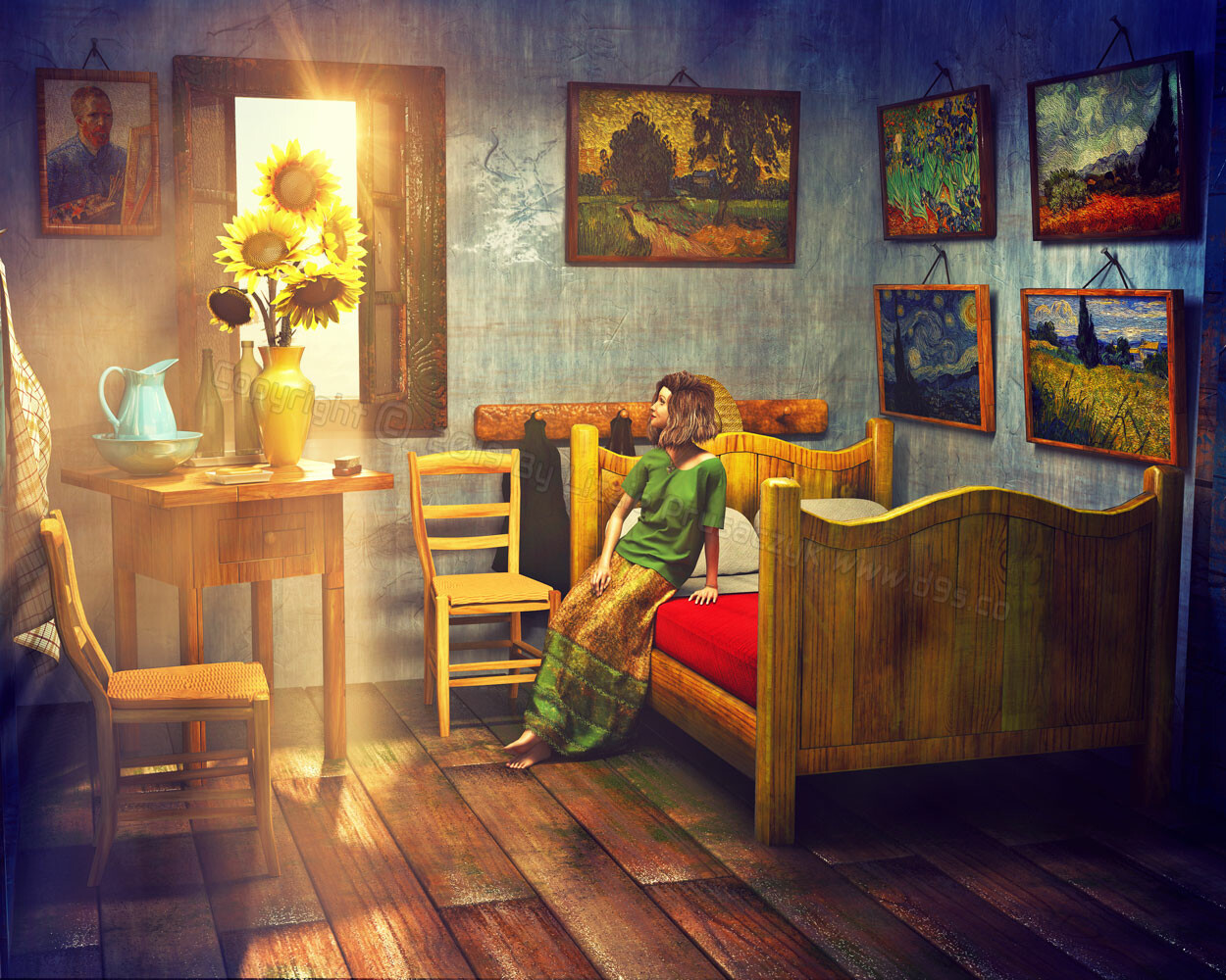 The sunlight filters through the window of Vincent's bedroom as the girl admires his lovely vase of sunflowers.