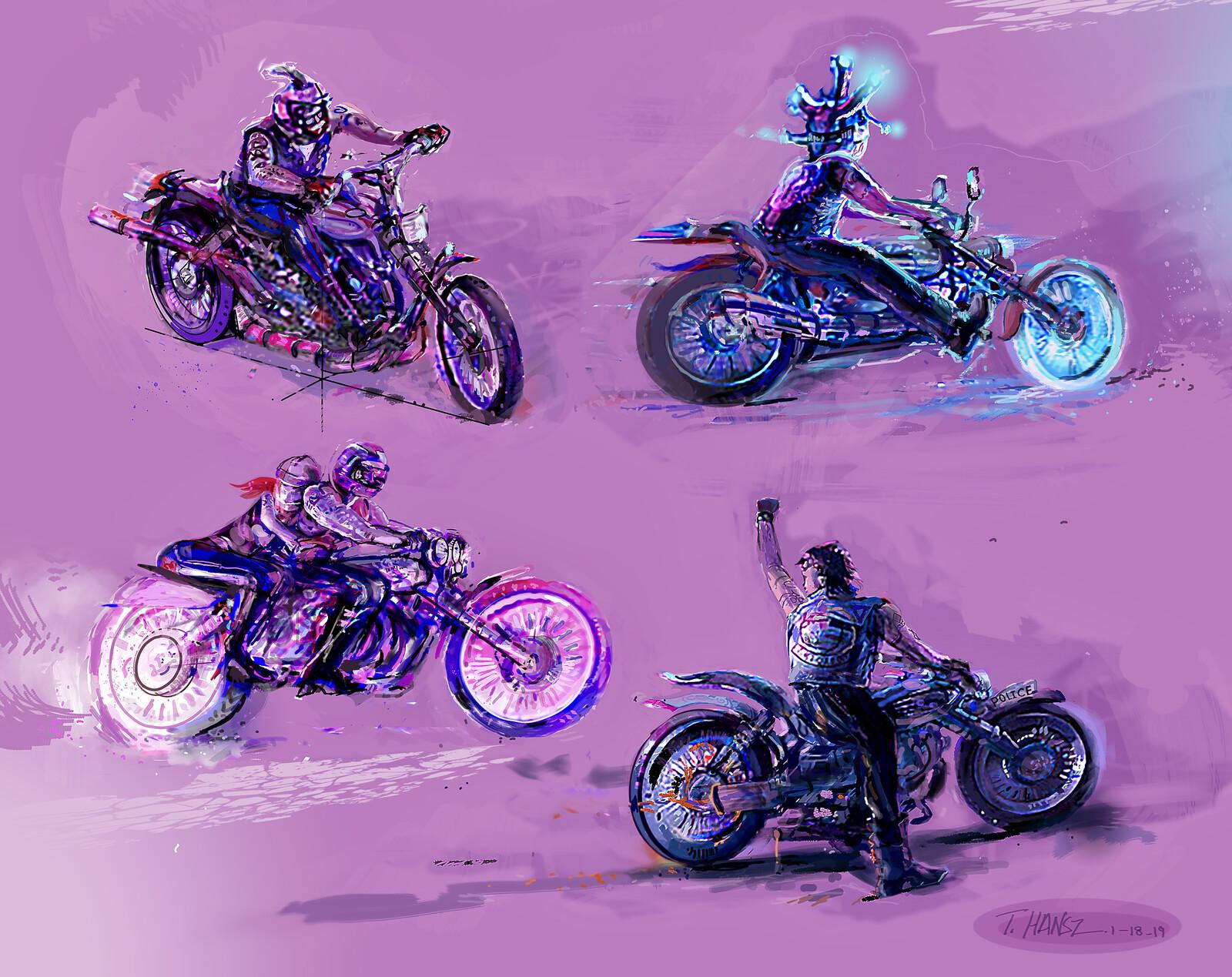 Fun sketches bikers & bikes.