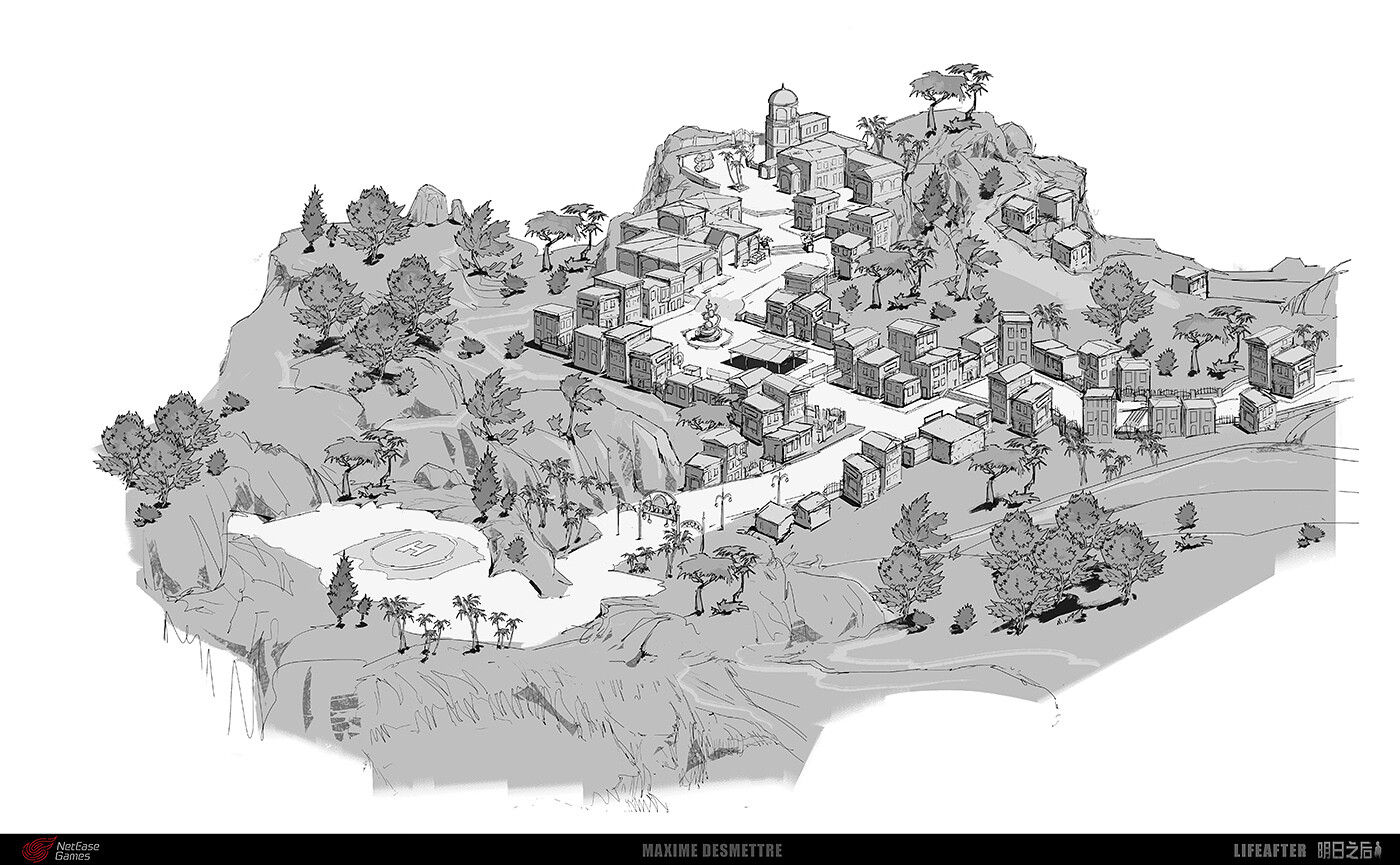 LifeAfter : Happy101 General Map   A sketch of the full area based on the the game design and art direction needs  (2018)