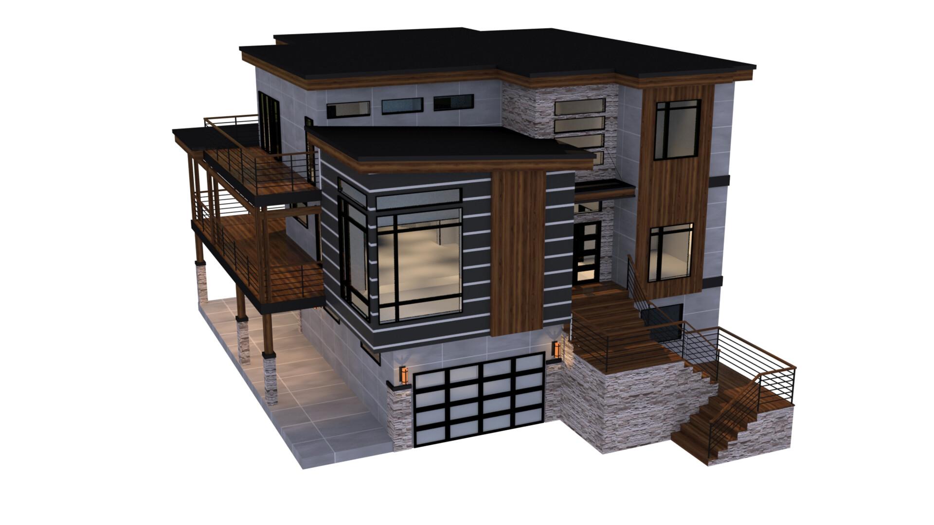 ArtStation - modern 5 bedroom house, Jonathan Gaudet