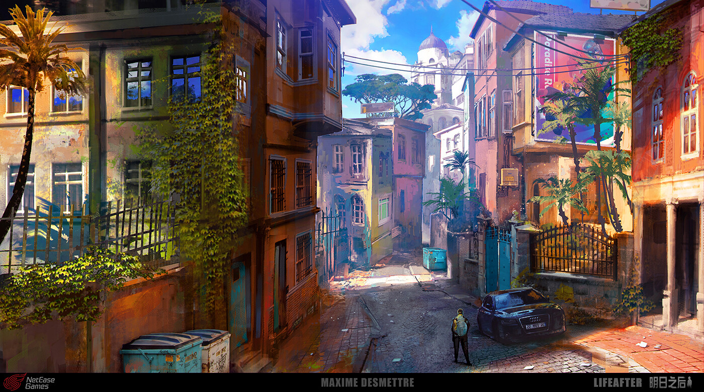 LifeAfter : Happy101 Residential Street  I played with the buildings arrangement to give a rather exotic impression to the location (not too lined up). (2018)