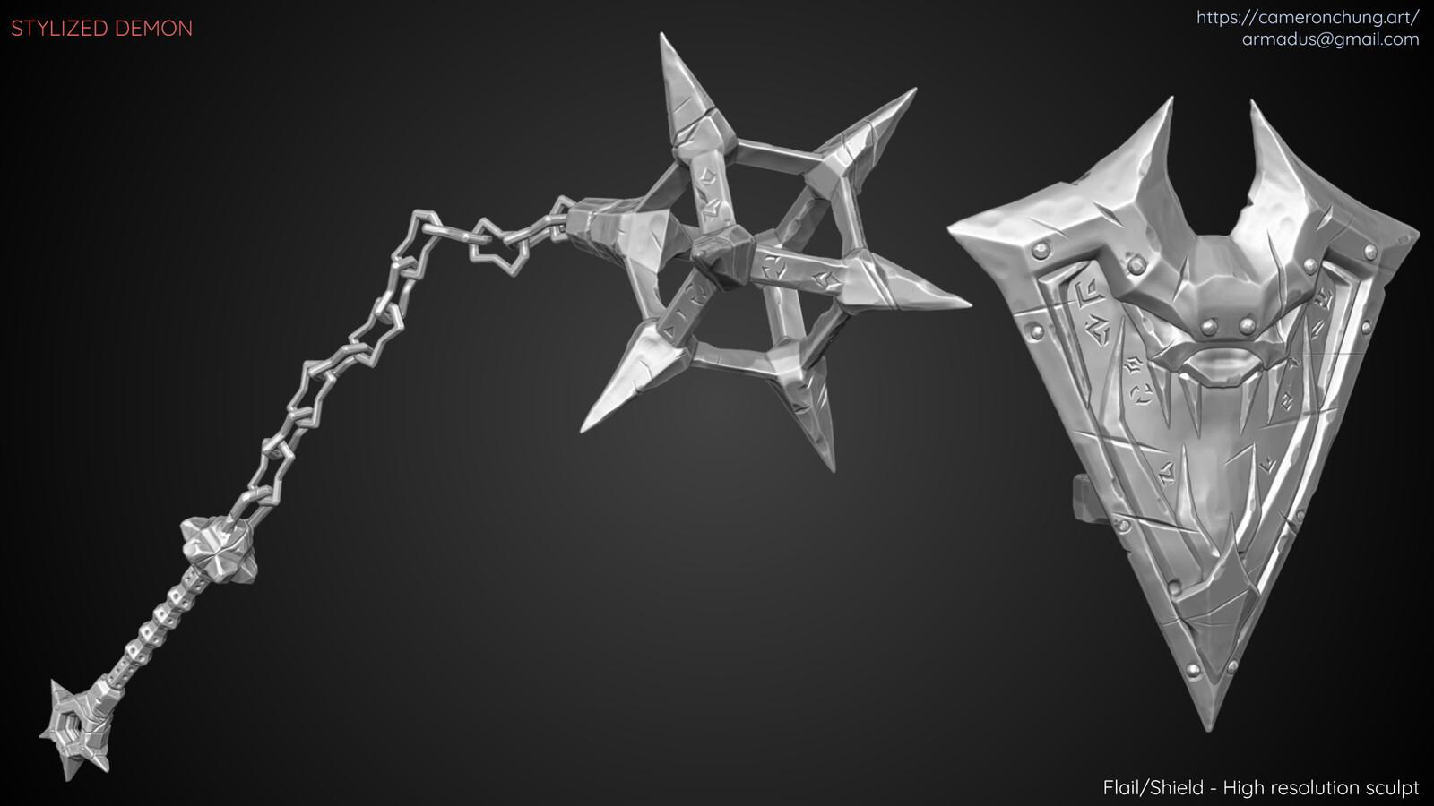 Flail / Shield - Zbrush sculpt