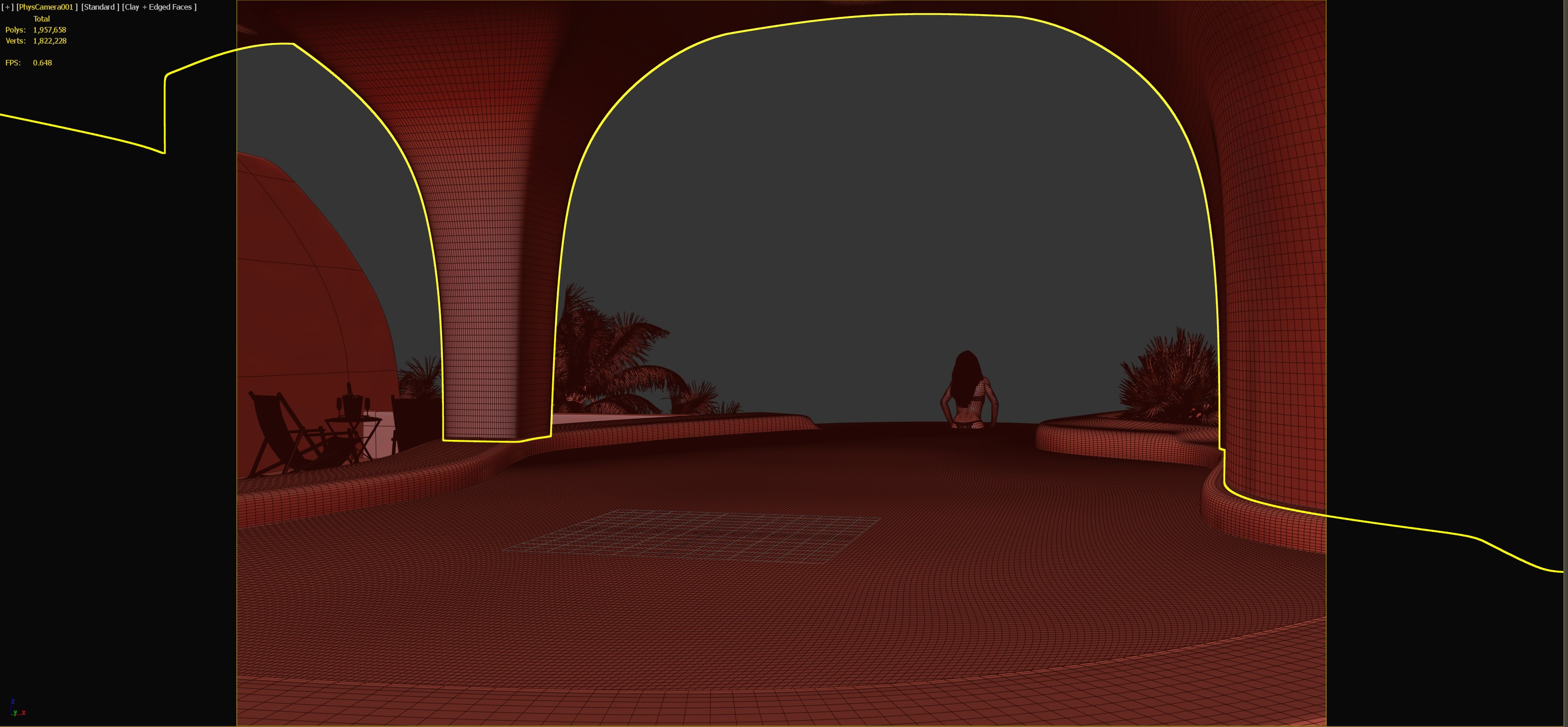 3DS Max viewport with camera frame