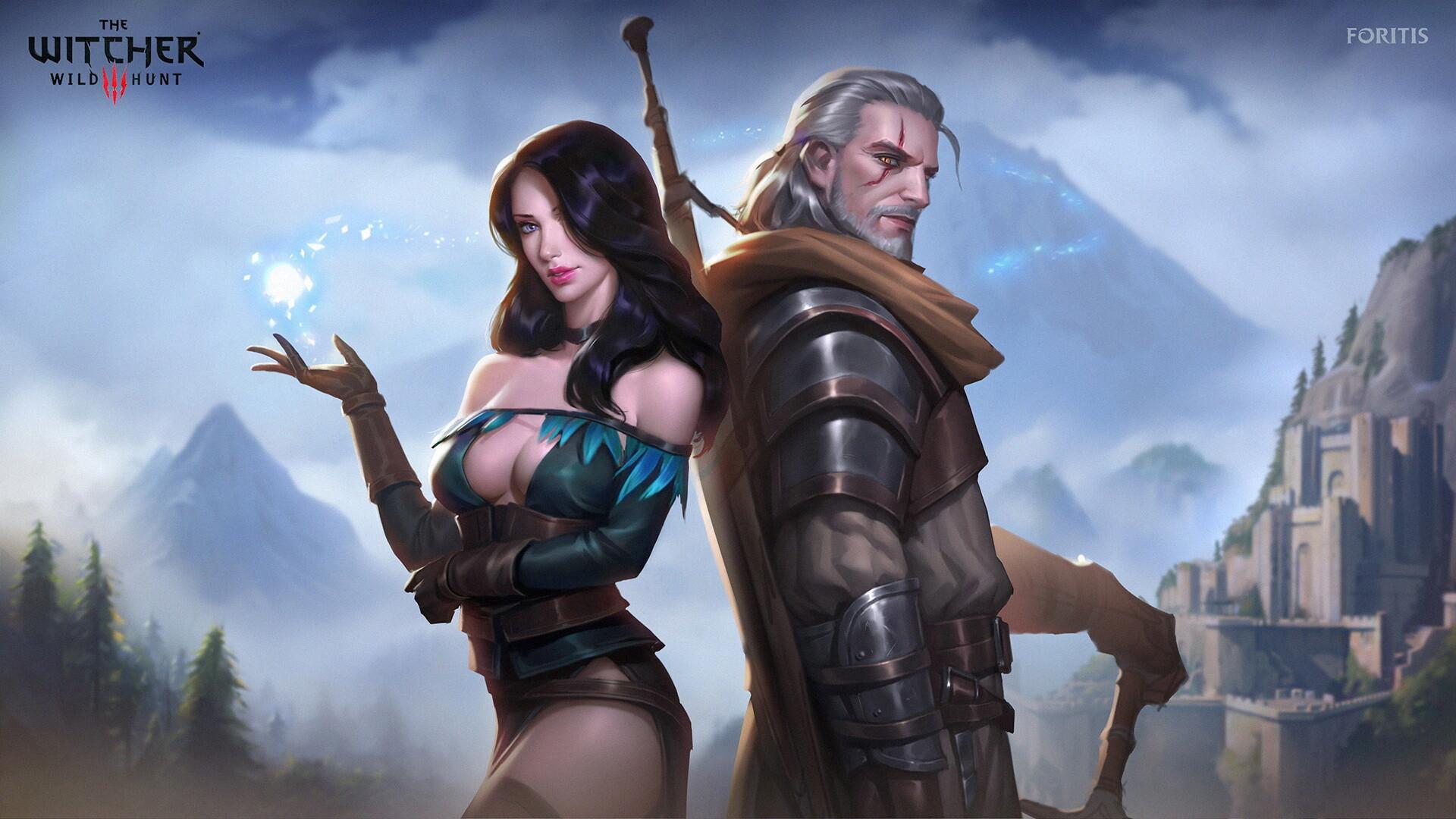 Artstation The Witcher Fanart Geralt Yennefer Foritis Wong