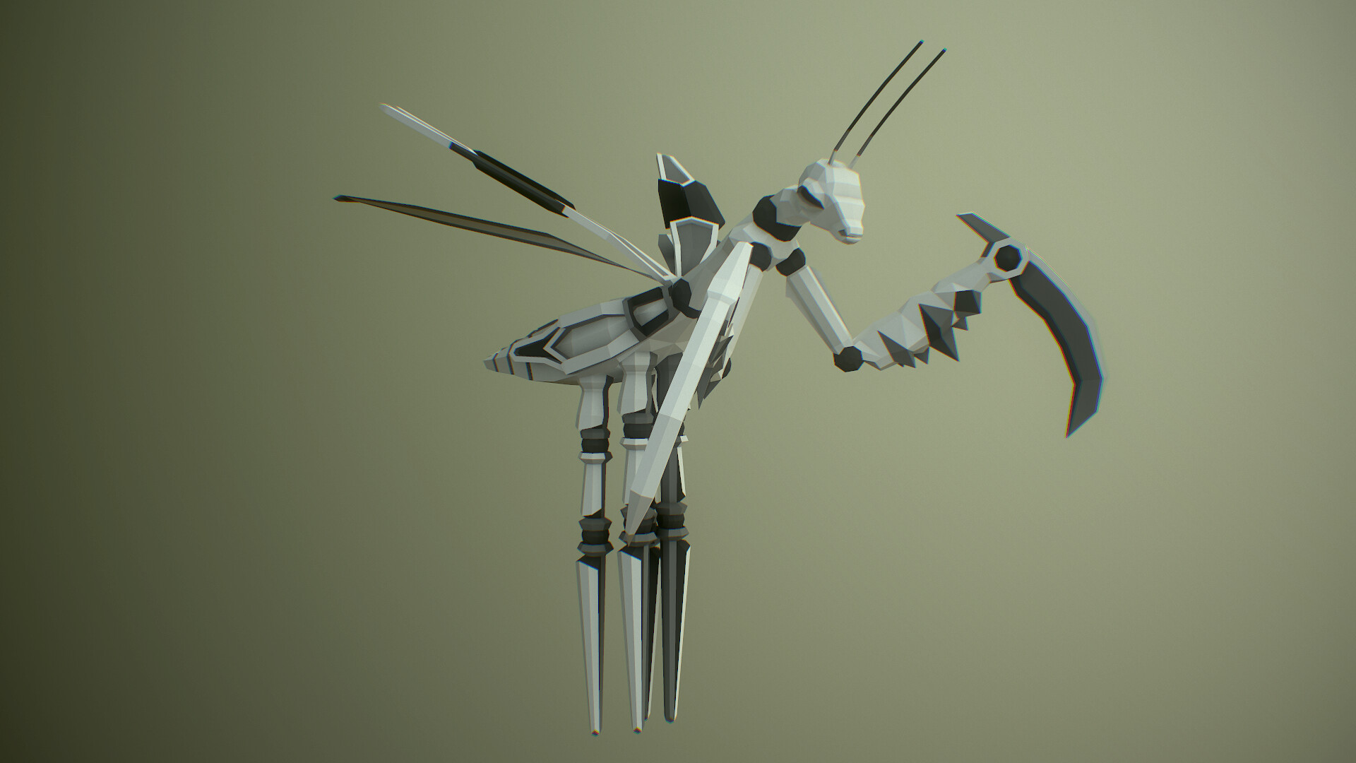 Mantis  lowpoly game assetwith basic idle animation test