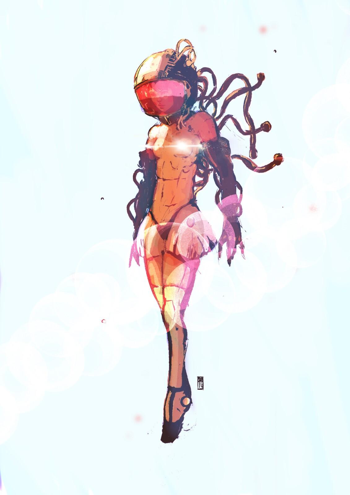 Doodling, space ballerina