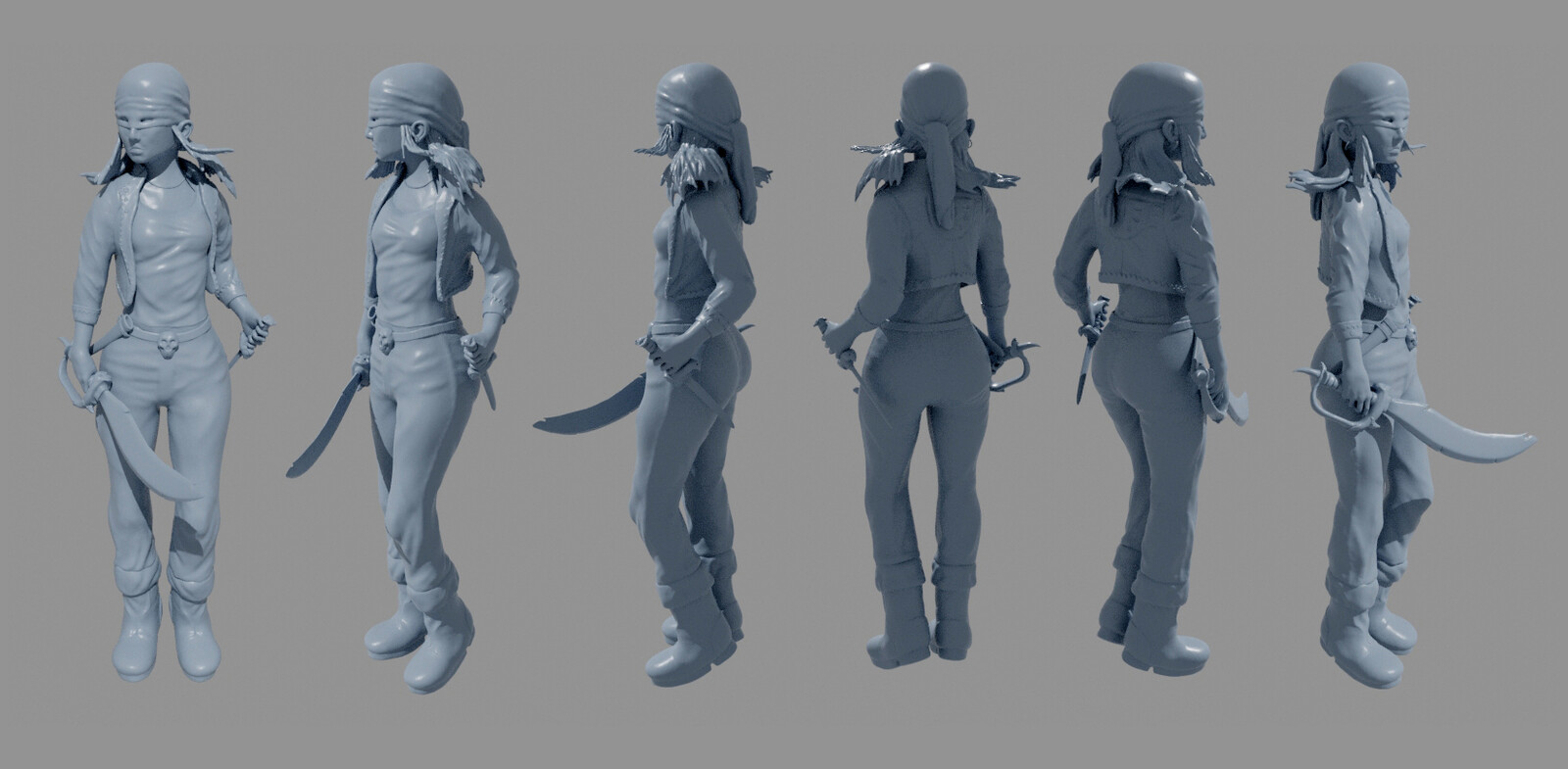 4kdesignstudio, Pirate, girl, character, 3d print, modeling, pose, sword, knife,