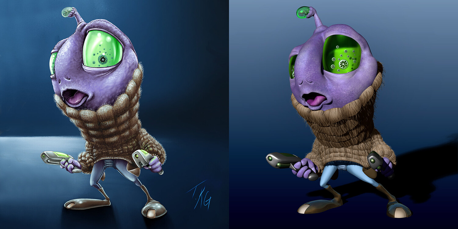Side-by-side: T.Kyle Gentry's original illustration & my sculpt