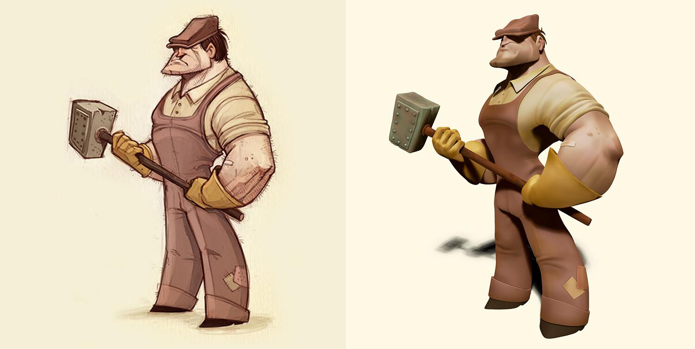Side-By-side: Drew Hill's original illustration & my sculpt