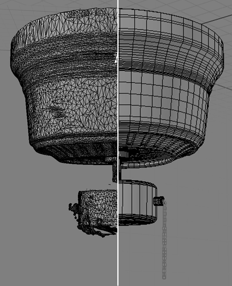 Here I've more or less lined up the original scan with my retoped geometry. The angle is slightly different, but it makes the point.  Retopologized using Modo.