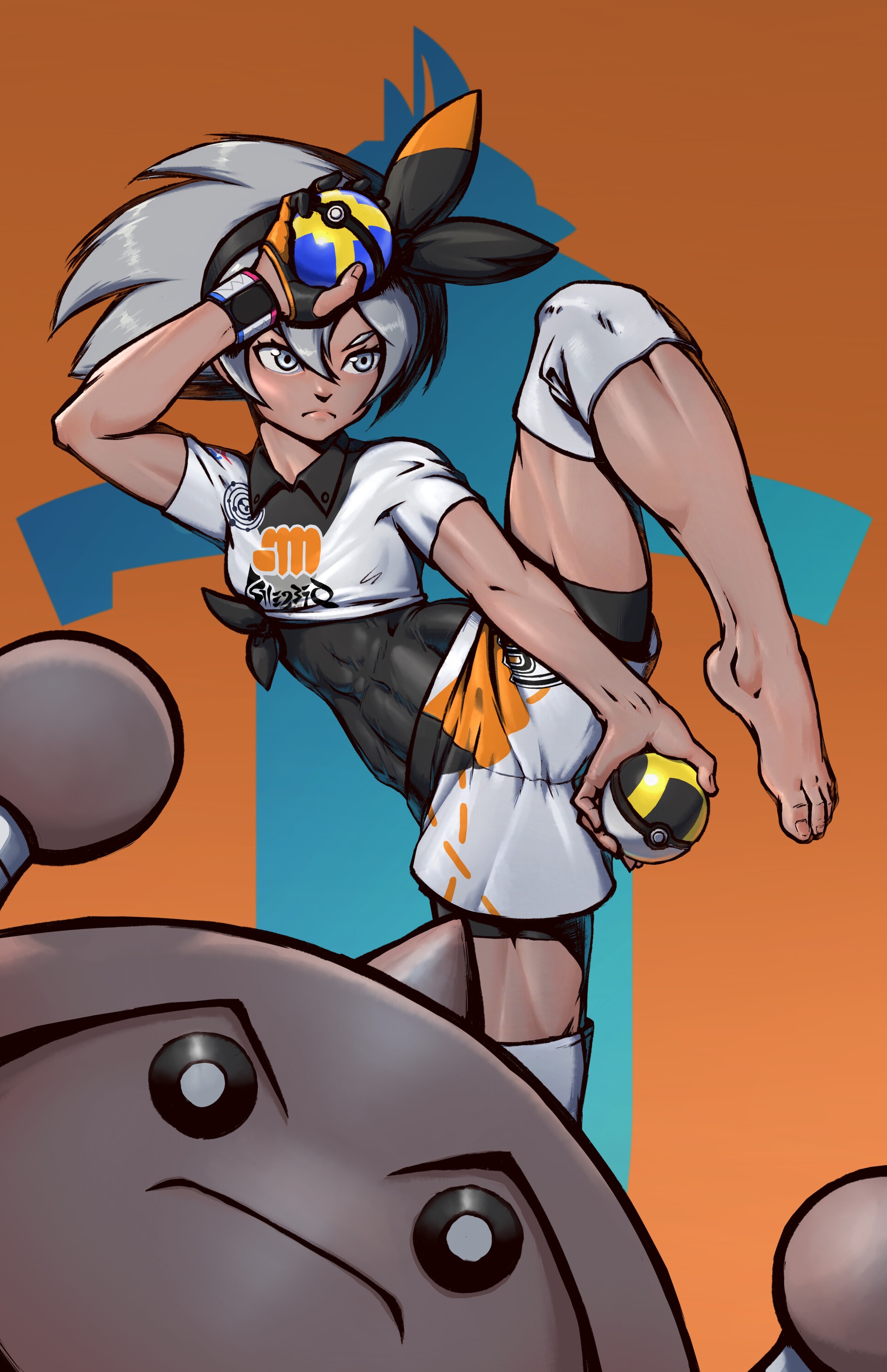 Hitmonlee glares at you disapprovingly, while you stare at Bea's abs.