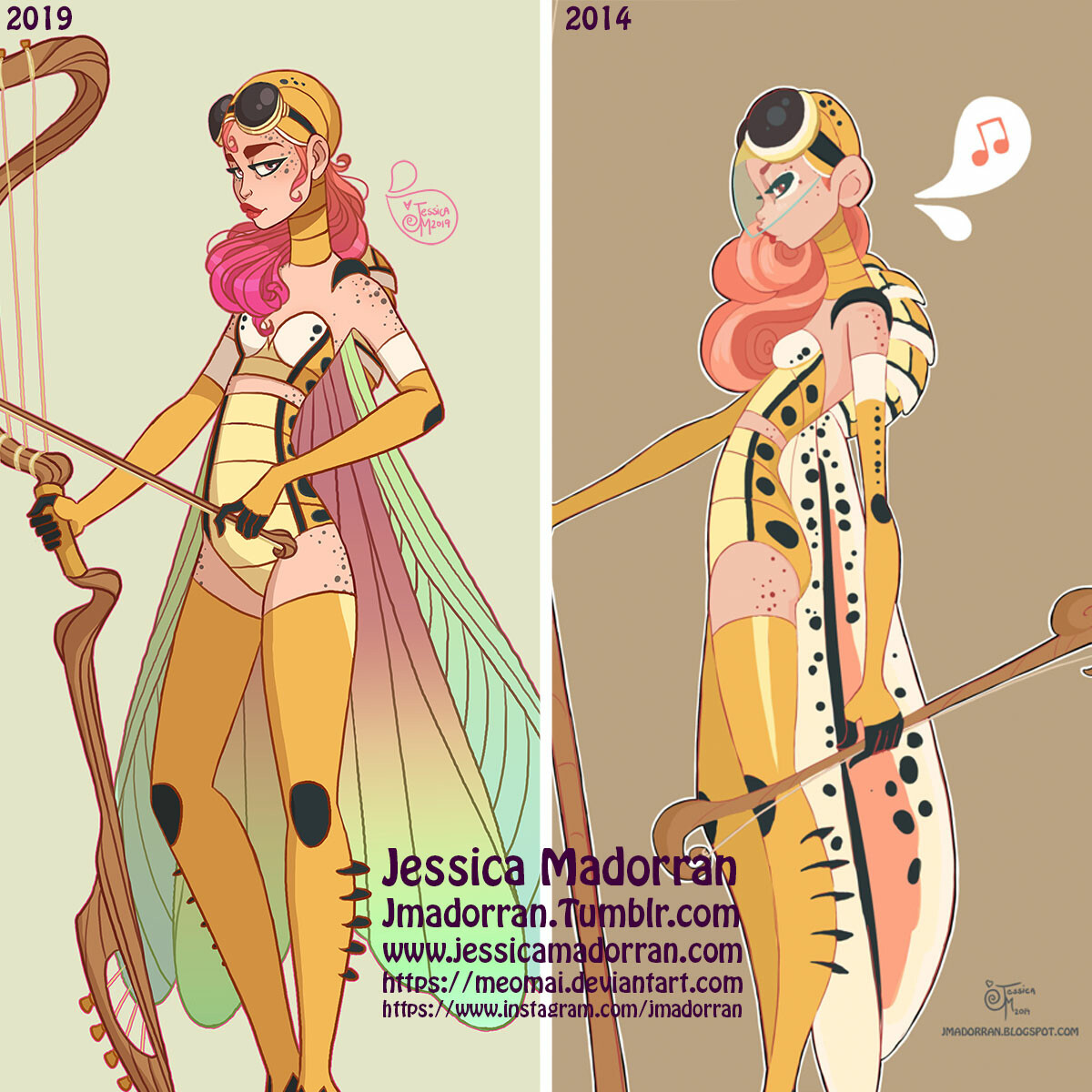 Jessica madorran character design redesign grasshopper warrior 2019 square comparison version artstaion