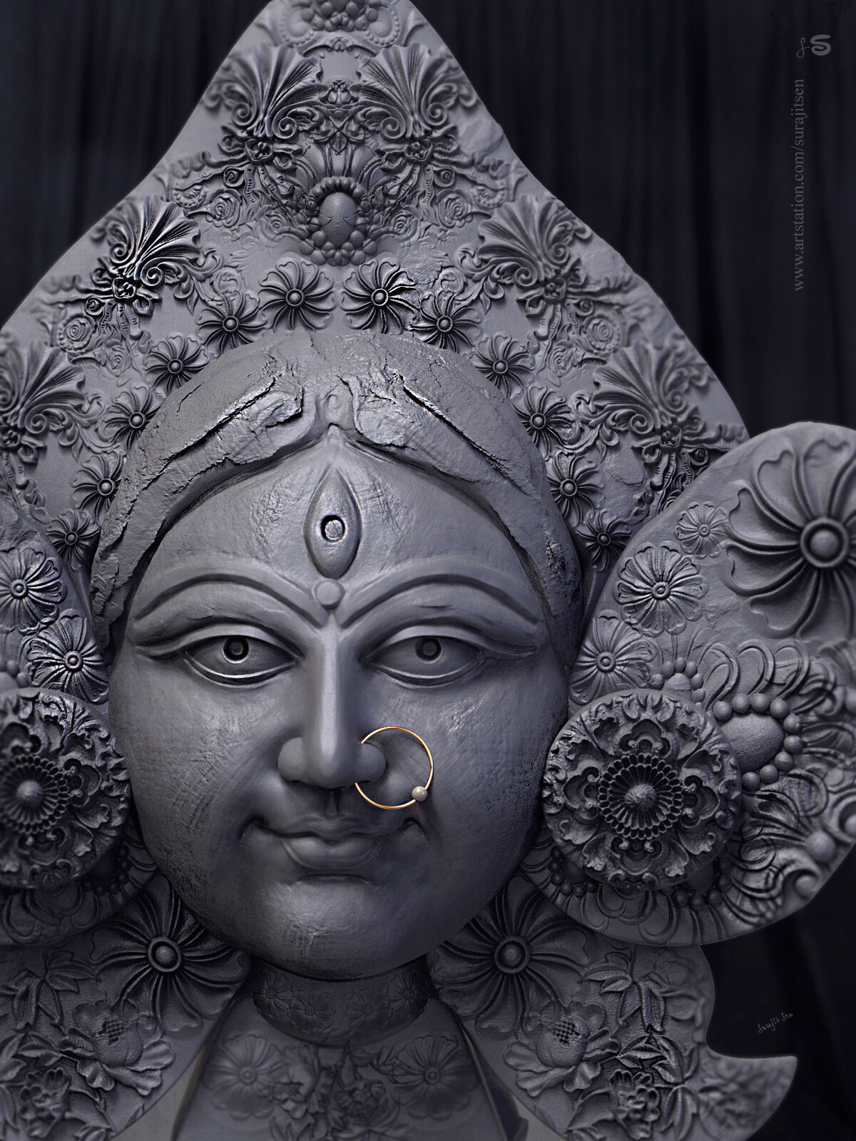"""One of my Digital Sculpture... """"Mrinmoyee""""  Tried to make a traditional rough Clay form of Goddess Durga face blocking.  Background music- #hanszimmermusic"""