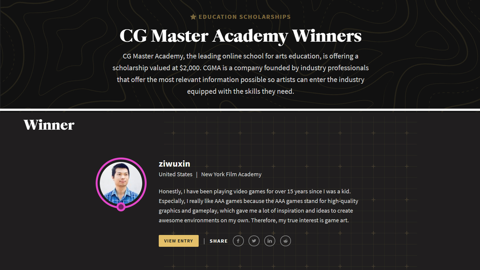 Junliang zhang cg master academy winners