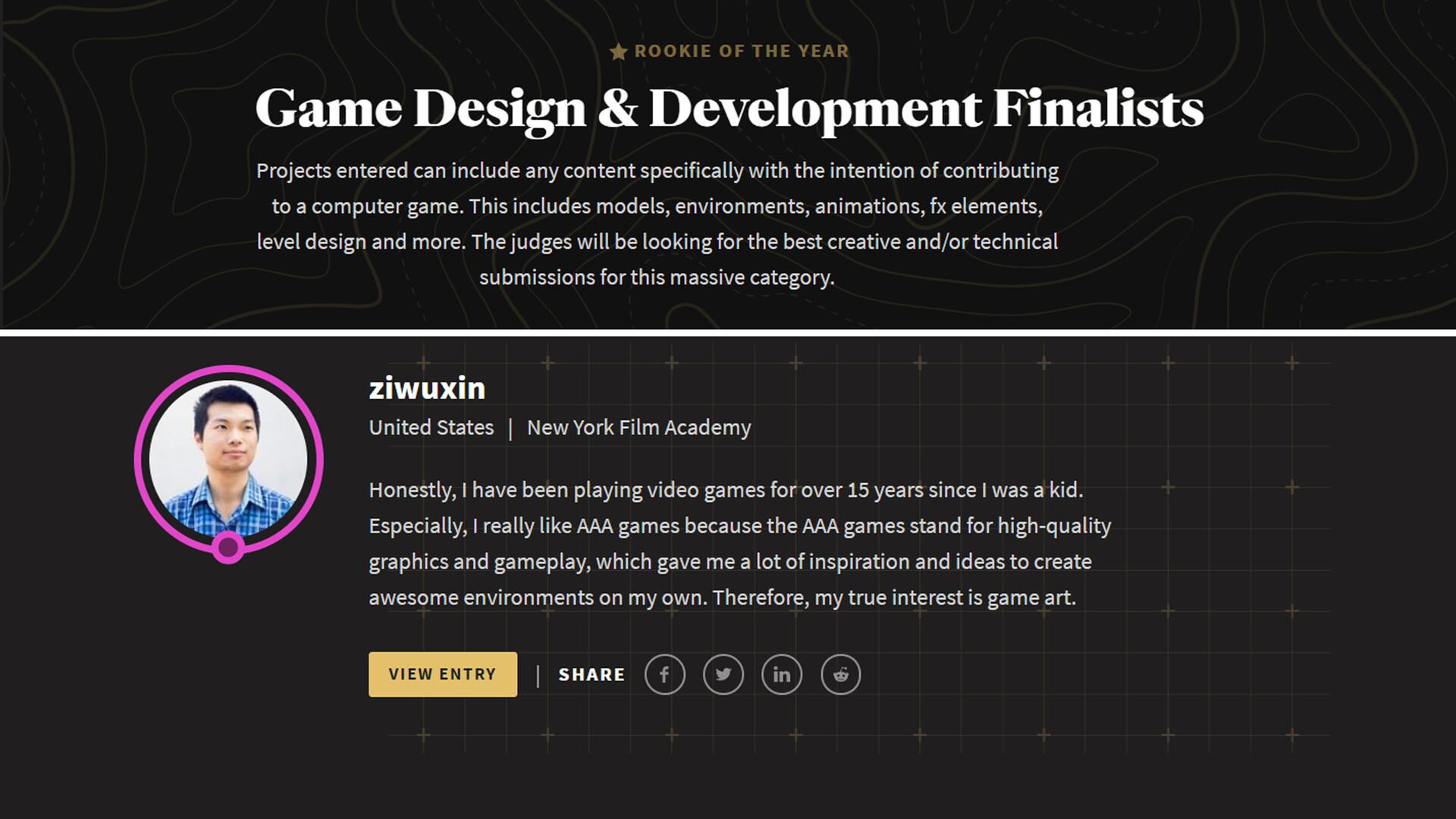 Junliang zhang game design development finalists