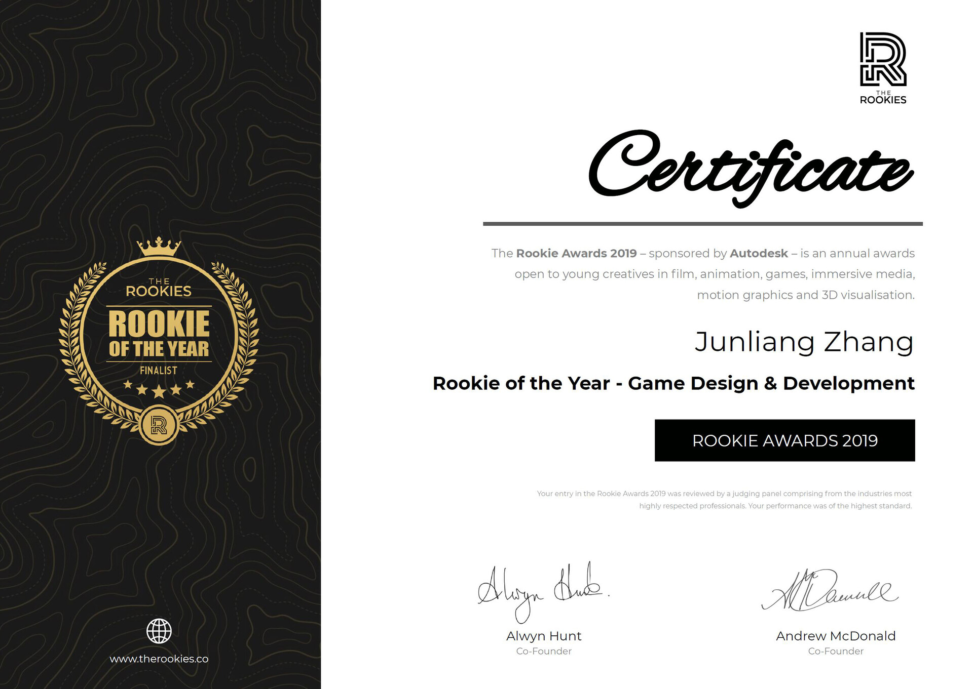 Junliang zhang rookie of the year game design development