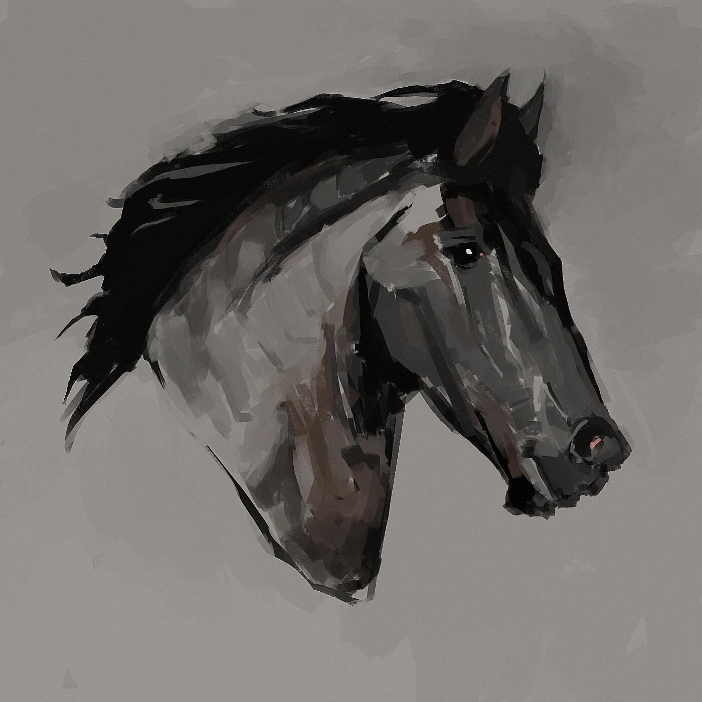 Artstation Black Horse Head Leandro Peixoto