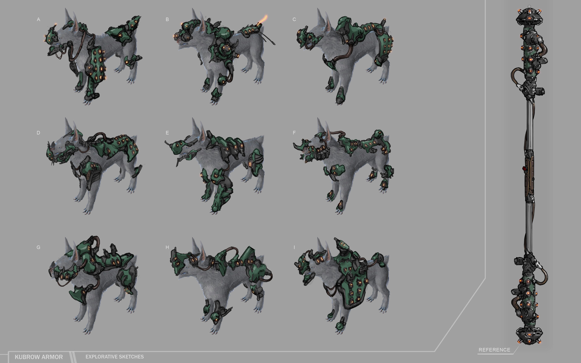 Explorative sketches for the Kubrow Armor