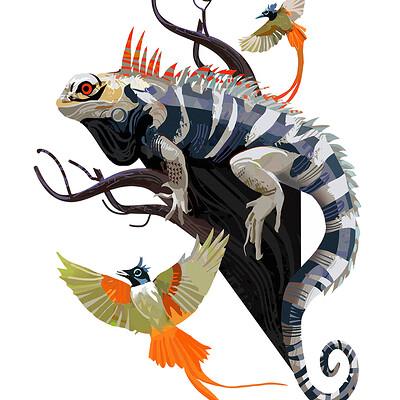 Hugo puzzuoli iguana branhes small hpuzzuoli