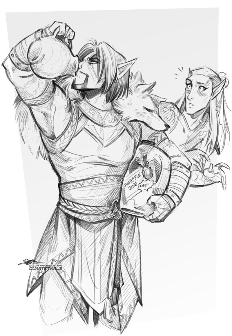 Mel is absolutely the kind of asshole who would drink from the carton, though the Elder Scrolls being a fantasy world he has to settle for a clay jug instead. Never mind the fact I clearly drew a modern juice gallon.