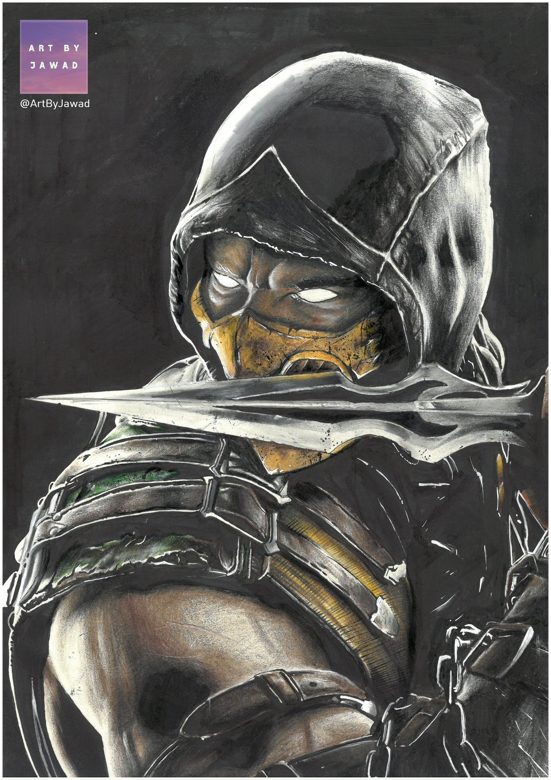 Artstation Scorpion Mortal Kombat Drawing Jawad Bokhari