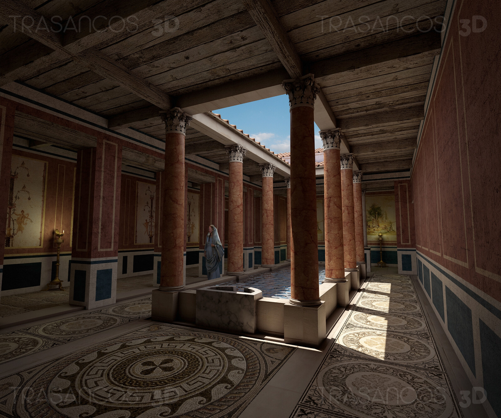 Interior view of the reconstructed Sertius House in Timgad. Modeled in collaboration with: - Carlos Paz