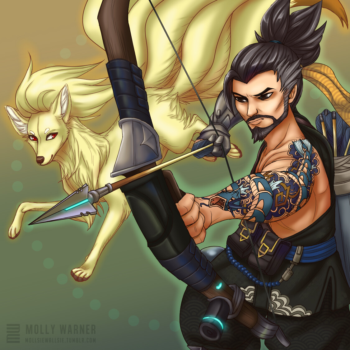 Hanzo & Nintails (with spirit dragon Gyrados tattoo)