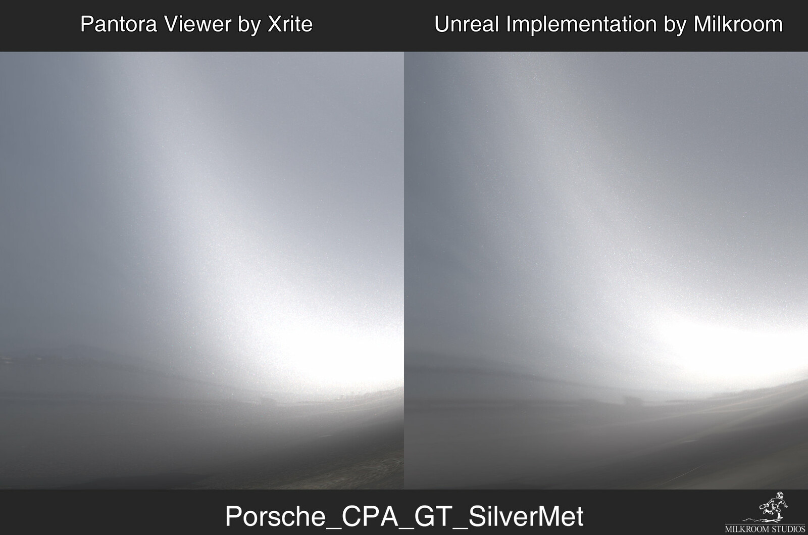 Comparing the behaviour of the flakes. The difference in the shading originates primarily from the difference in number and position of the lights emulating the image-based lighting.