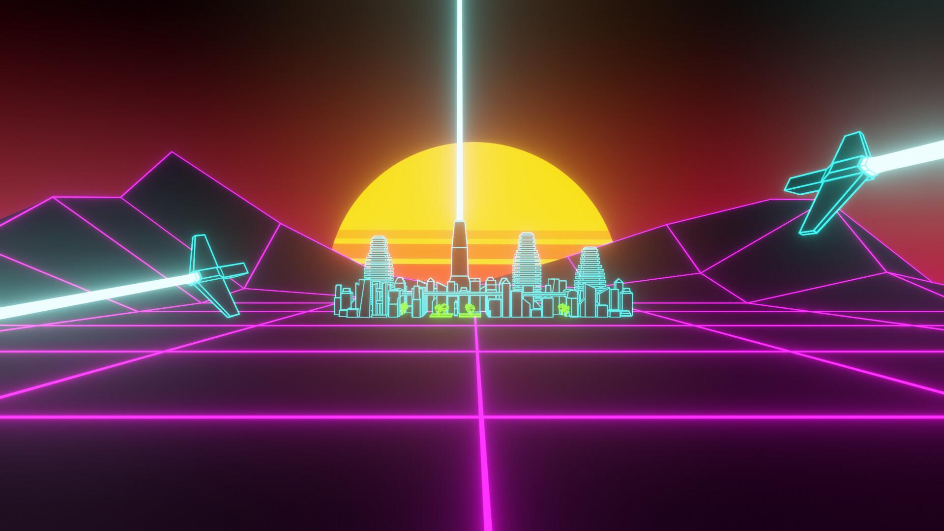 Artstation Synthwave Outrun Style Desktop Wallpaper Cyber