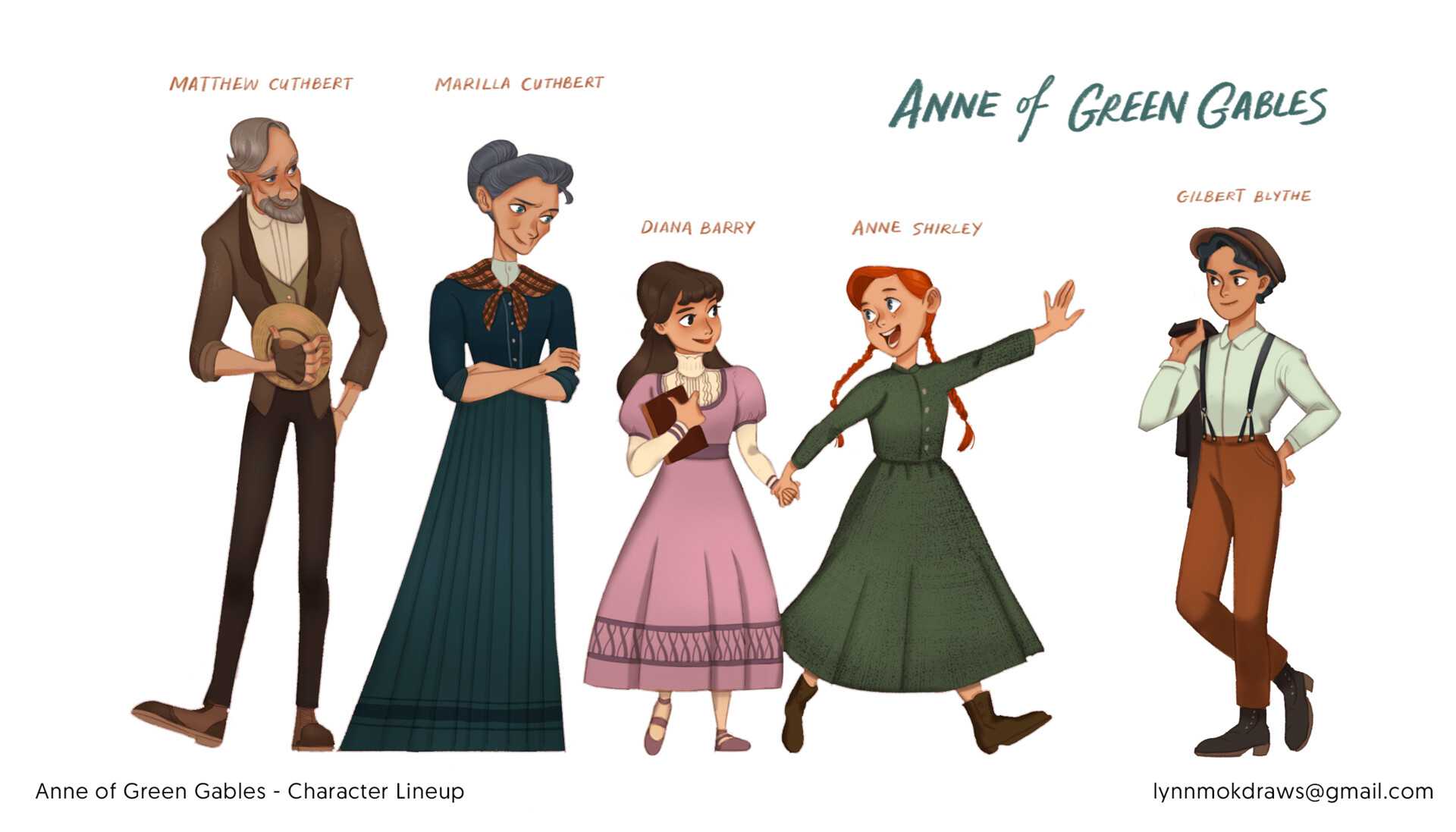 Characters in their respective Edwardian Era costumes