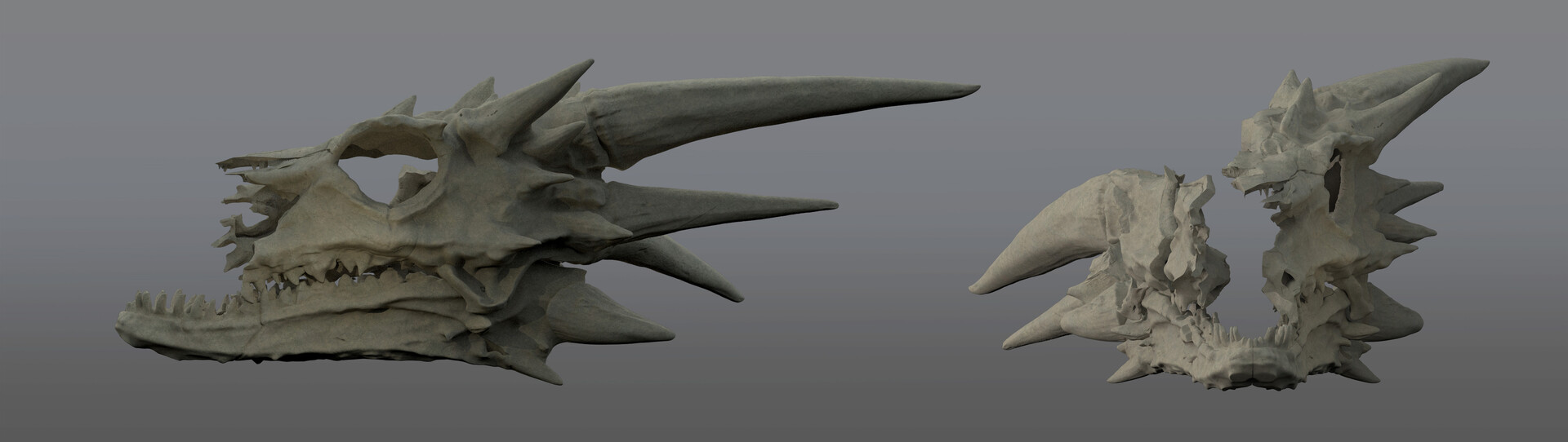 destroyed Balerion skull, front and side