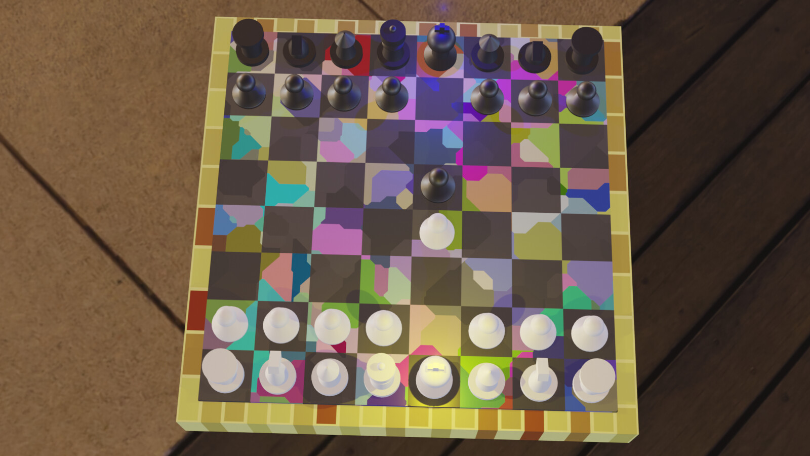 still frame. The colorful blobs extend to the black material in the checkers due to the factor being input into the roughness of the plane.