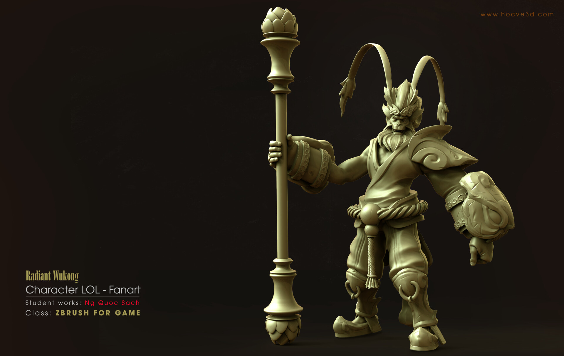 ArtStation - RADIANT WUKONG - STUDENT WORKS - RENDER CLAY, D